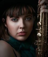 Musical Charm (Photography by Rp) Tags: wwwrpphotographytorontocom rpphotographytoronto studio body model sfw alluring sensual sexy erotic beauty person headshot portrait passionate sax saxophone musician music natural light beautiful cute