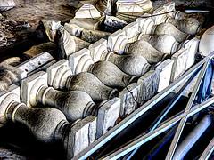 Heritage Salvage (Steve Taylor (Photography)) Tags: digitalart architecture building demolition blue black brown white earthquake 22february2011 broken damage quake smashed stone metal aluminium newzealand nz southisland canterbury christchurch city branch twig texture ballistrading columns edmonds edmondsbandrotunda rotunda salvage