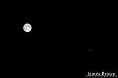 Waning Gibbous Moon (98.8% Illuminated) & Jupiter with moons (Europa, Ganymede & Callisto) (J. Brown Photography) Tags: photo james brown photography sony alpha jupiter galilean moon moons callisto europa ganymede planet night astrophotography lunar waning gibbous conjunction