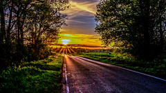 The road to Wistow (Peter Leigh50) Tags: rural road line light sky sunshine sun rays trees countryside fujifilm fuji xt10 landscape spring april evening wistow