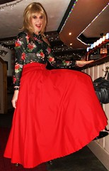 Bar Stool Skirt (Amber :-)) Tags: long full red skirt tgirl transvestite crossdressing