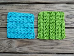 Two six-inch textured crochet squares ready for adventure (crochetbug13) Tags: crochet crocheted crocheting crochetbug crochetsquares textured squares