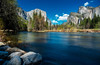 Spring Day (Yaecker Photography) Tags: yosemitenationalpark park california unitedstates us yosemitevalley waterporn longexposure wide riverbank riverrocks mountains elcapitan skyblue bluesky