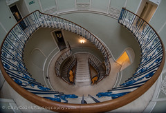 Nelson Staircase, Somerset House (GaryColet) Tags: 2017 london somersethouse architecture circle curves distort fisheye handrail light stairs stone rotunda