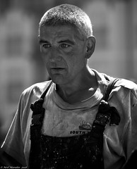 Not everyone had the day off for the Pirate Festival (Neil. Moralee) Tags: neilmoralee piratebrixhamneilmoralee fisherman man seaman work working face portrait backlit hard rugged cropped hair sailor brixham devon street candid neil moralee nikon d7200 black white bw bandw mono monochrome blackandwhite harbour fishing fleet uk dirty 2018 deckhand trawlerman crew