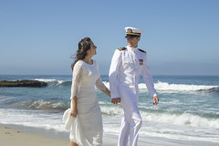 Bride, Groom, and the Beach (aaronrhawkins) Tags: wedding bride birdal lajolla sandiego california navy naval officer dress uniform beach sand rocks ocean pacific shore engagement fiancee brittany trent stark stroll engaged glamour couple love happy young aaronhawkins wife