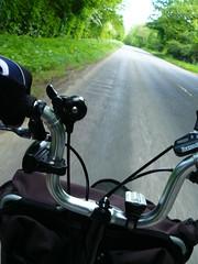 Comfort at Work (cycle.nut66) Tags: brompton bicycle bike cycle ride riding b485 roadchiltern hills chilterns trees m type handlebars shifters motion movig panasonic lumix fz8 leica elmarit