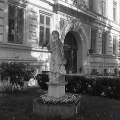 Statue (rotabaga) Tags: sverige sweden svartvitt göteborg gothenburg fomapan lomo lomography lubitel166 twinlens mediumformat mellanformat 120 6x6 blackandwhite bw bwfp ullevi
