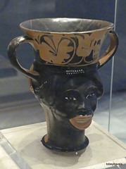 Aiani Museum, Hellenistic Double headed Terracotta Rhyton (1).JPG (tobeytravels) Tags: macedon macedonia alexanderthegreat alexandrthe3rd votive gravegoods clay figurine
