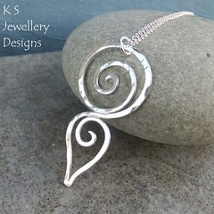 Dappled Spiral Drop Sterling Silver Pendant (KSJewelleryDesigns) Tags: metalwork pendant necklace jewellery jewelry handmade brightsilver shine sterlingsilver silverjewellery handcrafted silver silverwire metal hammered shiny polished bright soldered soldering brushed petals sawing piercing metalsmith metalsmithing silversmith silversmithing swirls spirals dappled silverswirls silverspirals spiralpendant