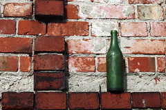 Imported product (czerwiony Smãtk) Tags: hometown bottle red green white gdańsk ruins wall brick poland europe canoneos6d canonef85mmf18