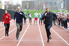 Britain's Catherine, Duchess of Cambridge (L), Britain's Prince William, Duke of Cambridge (C) and Britain's Prince Harry (R) take part in a relay race, during a training event to promote the charity Heads Together, at the Queen Elizabeth Olympic Park in London, on February 5, 2017. (Photo by ALASTAIR GRANT/AFP/Getty Images)