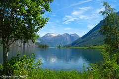 Somewhere ... (Desireevo) Tags: northern norway norge noorwegen nature desireevanoeffelt outdoors landscape landschaft landscapes lake lakes mountain mountains tree trees clouds cloud sky skies hiking hike reflection reflections blue green