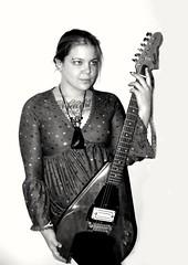 Girl and guitar. (kegrose) Tags: girl guitar beautiful music inspired amazing customguitar blackwhite woman sexy rock tattoo hot piercing rockroll octane metal photography portrait lady fuji photoshoot