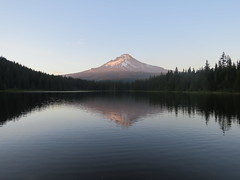 Mt. Hood Evening Reflection (claypeoples) Tags: mounthoodnationalforest mount hood mountain volcano cascade range peak reflection sunset sunrise trees lake calm clear water pond peaceful oregon american west