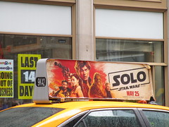 Solo Star Wars Movie Poster Taxi Cab Ad Fin 1838 (Brechtbug) Tags: solo a star wars movie poster taxi cab ad fin alden ehrenreich han donald glover lando calrissian joonas suotamo chewbacca woody harrelson tobias beckett may 2018 new york city portrait portraits eight story space opera film science fiction scifi robot metal man adventure galactic prototype design metropolis standee nyc billboard billboards posters 7th ave 42nd street ads advertisement advertisements 05132018 st avenue