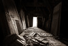 Corridoor (MacMyc) Tags: chateau castle corridor couloir grenier attic combles loft door porte messy dirty sale désordre dark sombre monochrome sepia canon 80d 1018 raw lightroom