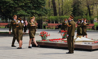Guard of Memory at the Eternal Flame in Abakan, Russia on the eve of The Great Victory Day over Nazi Germany