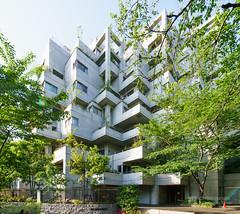 The facade of Seionkaku (清音閣) (christinayan01 (busy)) Tags: tokyo japan architecture building perspective green apartment facade exterior