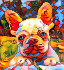 Little Sweet Dog (Ross Studio) Tags: dog canine blue yellow red orange bubbles circles abstractdesign texture pattern colorful abstract decorative color grunge messy grungy graphic artistic abstractart abstractpainting abstractexpressionism artist experimentalart rossstudio artlovers artnews artoftheday artreception artwork artshow artfair artgallery artstudio contemporaryart portrait anthonyross photomanipulation photoshop faceon purebred publicdomain face black green brown purple white eyes animal art cute digitalillustration hybrid illustration doggy