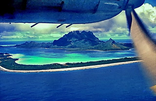 Arriving in cloudy Bora Bora