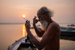 Varanasi 2017 (Ravikanth K) Tags: 500px varanasi kasi water adult old man outdoor sunrise reflection ganga ganges oldman aged white beard boats morning cwc cwc623 chennaiweekendclickers ash tilak gettingready travel people