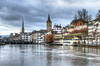 Zurigo (Fil.ippo) Tags: zürich zurich zurigo switzerland svizzera limmat fiume river cityscape campanile belltower panorama water acqua filippo filippobianchi d60 hdr reflection riflessi