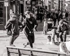 Dancing in the Street (raymorgan4) Tags: dancing dance girls happy smilin smiling laughter sunny cardiff wales fujifilm fujifilmx100f fujifilmglobal x100f acros fun students teens celebrating