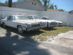 2 CADILLAC ELDORADO's & a JAGUAR. (goldiesguy) Tags: goldiesguy gm automobile auto automobiles cadillac eldorado old outdoors rusty rust unrestored unrestoredautoclassic vehicle vehicles