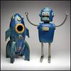 Blue Robot And Rocket (Rodrick Dale) Tags: robot rocket spaceship ceramic pottery metal art
