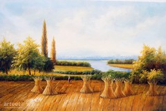 After The Harvest, Art Painting / Oil Painting For Sale - Arteet™ (arteetgallery) Tags: arteet oil paintings canvas art artwork fine arts tuscany landscape travel sky summer tree history grass old europe ancient scenery outdoors rural outdoor scenic mountain sunny italy field country trees monument valley cloud culture meadow countryside rock historical hills clouds landscapes fields pastorals orange lime paint