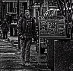 """He Was Listening To Music & Feeling Alive; Remembering The Good & Kicking The Bad,"" Martin Luther King Jr. Avenue, Historic Anacostia, Washington, DC (Gerald L. Campbell) Tags: streetphotography street squareformat spirituality spiritualindifference socialdocumentary alienation aloneness bw blackwhite blackmale citylife community dc digital freedom injustice historicanacostia inequality indifference urbanphotography martinlutherkingjravenue urban washingtondc yearning yeswecan youth"