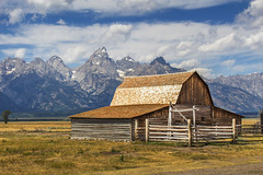 Grand Teton and the Old West (NickSouvall) Tags: old west barn mormon row molton grass field valley mountain background cloudy sky blue warm light morning landscape nature