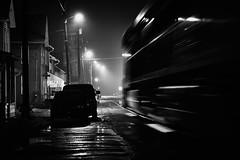 Nightly Street Running (benpsut) Tags: train railroad blackandwhite rainy night nightphoto street streetrunning ns norfolksouthern nsmonline