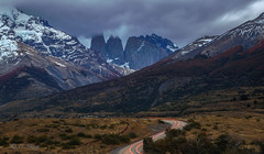Stormy Torres, Torres Del Paine NP, Chile (beautifullcreatures) Tags: tree forest clouds dawn mountains andes red light chile torres del paine np patagonia