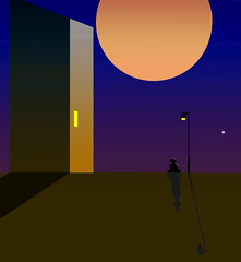 Moongazer. (yamstar1) Tags: night street building digitalart moon sky