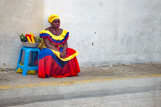 colorful woman in Cartagena