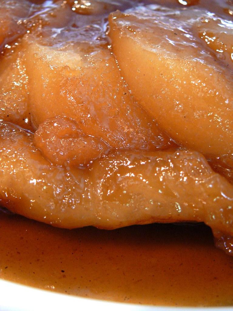 bartlett pear tarte tartin close-up