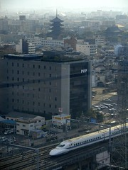 Shinkansen arriving at Kyoto (P F C) Tags: city japan train pagoda kyoto railway jr nippon kansai  shinkansen bullettrain toji onlyinjapan 700series japanrailways