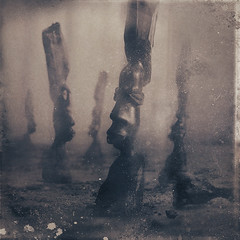 The Elders (panic-embryo) Tags: wood topf25 sepia photomanipulation dark topf50 moody african dream eerie carving bound topf100 dreamscape orators topf30 fairytalesdarkly artlibre graphicnovelexperiments obstaculum