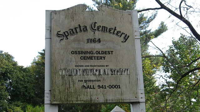 Sparta Cemetery Sign-Established 1764-Ossining NY