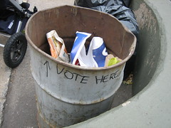 Election day (dM.nyc) Tags: nycpb sign trash america democracy garbage election can rubbish vote roseannetookthis img2536jpg