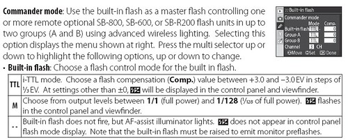 How to set the intensity of the built-in flash on the D80 in commander mode