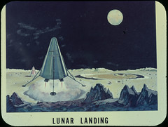 Early artist conception of lunar module landing on the moon - by chrisspurgeon