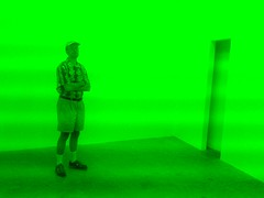 Inside Helman Gallery Parallelogram (Jacco van Giessen) Tags: light people green art museum gallery florida miami contemporary bruce southbeach redbluegreen parallelogram nauman helman museumwatchers jaccodotorg