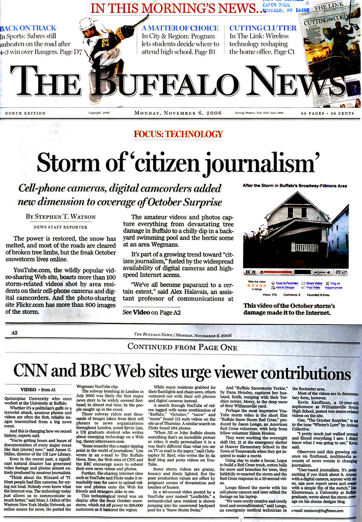 Quoted in Buffalo News about the local citizen journalism phenomenon