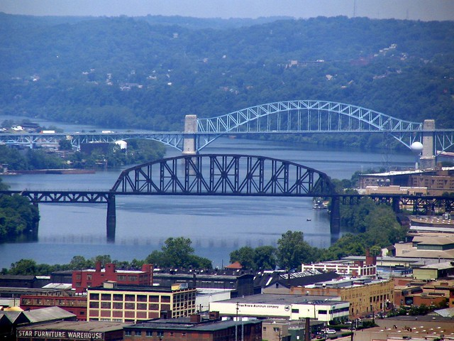 View of 2 bridges from Mt. Washington