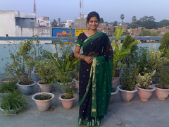 Mou looking gr8 in blue sari (the_nayans) Tags: chhath