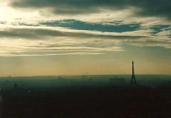 Paris Skyline (Ronald Hackston) Tags: sunset paris france tower skyline tour eiffeltower eiffel deiffel heathaze ronniehackston ronaldhackston