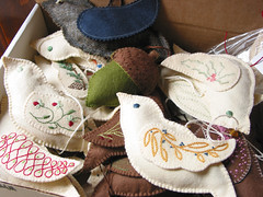 a box of birds (rubycrownedkinglette) Tags: birds embroidery felt sachets woolfelt